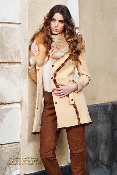 camel coat in Angora with mink | designer winter coats | Asita Sahabi