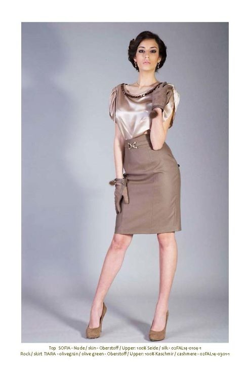 beige silk blouse with rhinestones and draping | ASITA SAHABI