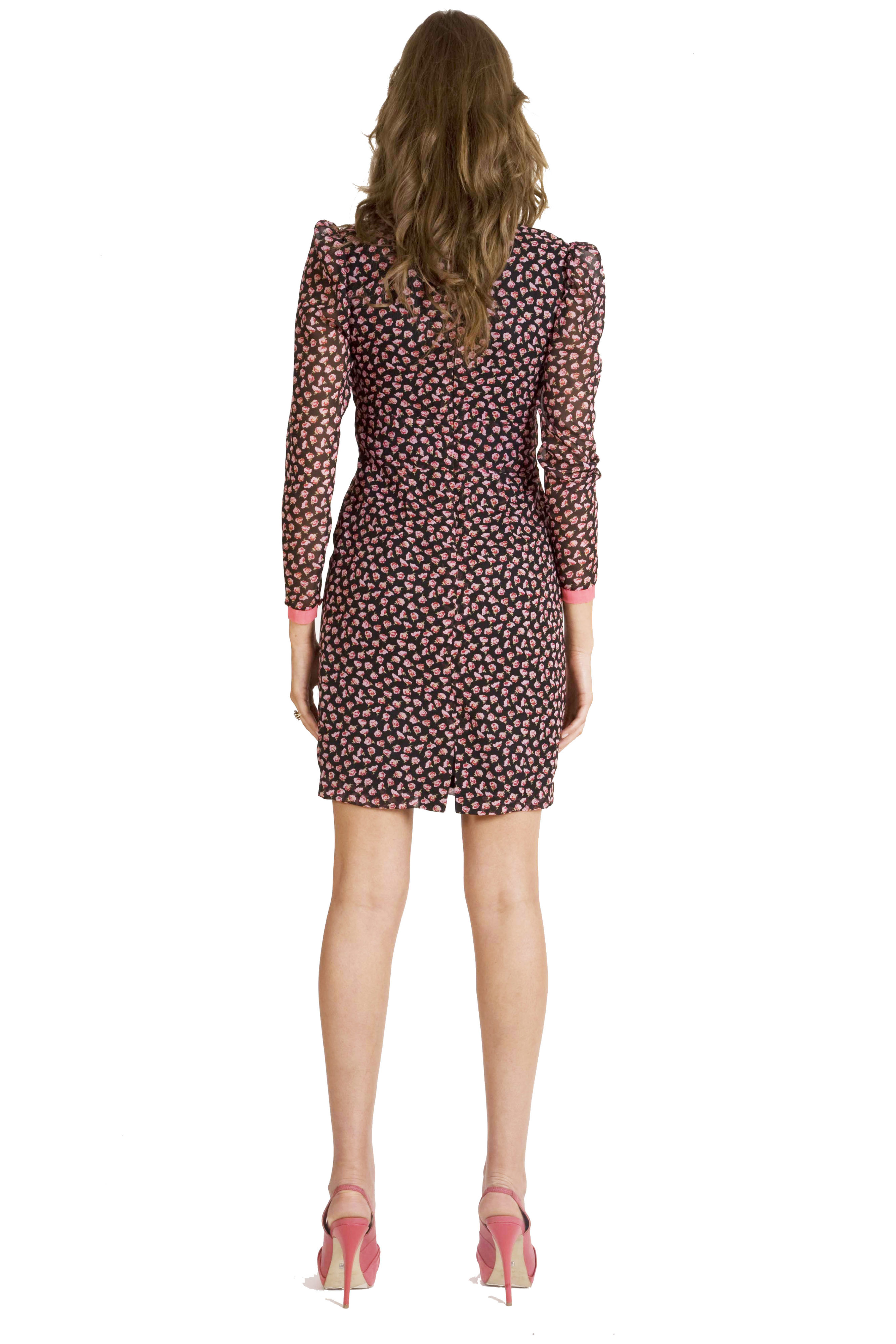 Kleid mit blumen aus seiden chiffon in schwarz und koralle - Festliche kleider koralle ...