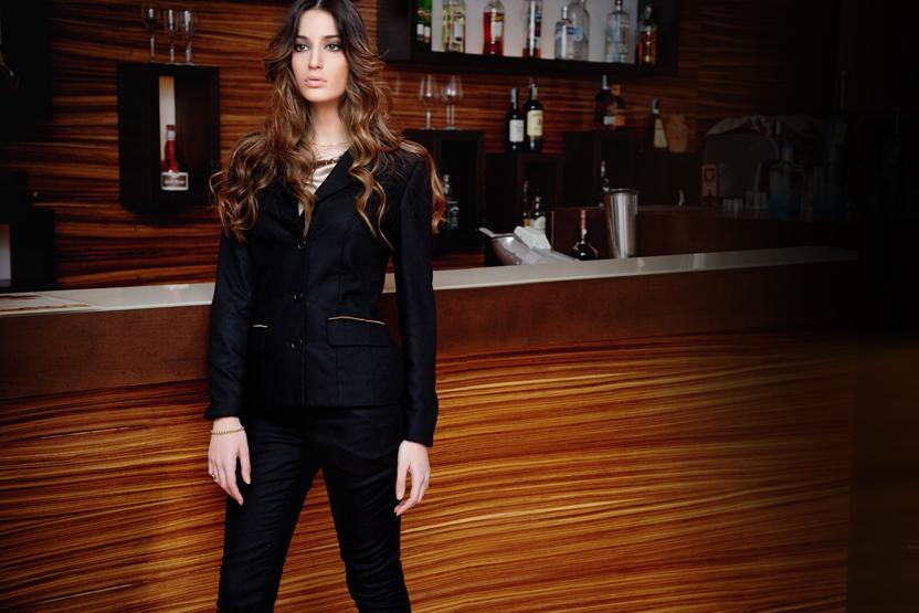 black cashmere pantsuit with gold trims | ASITA SAHABI