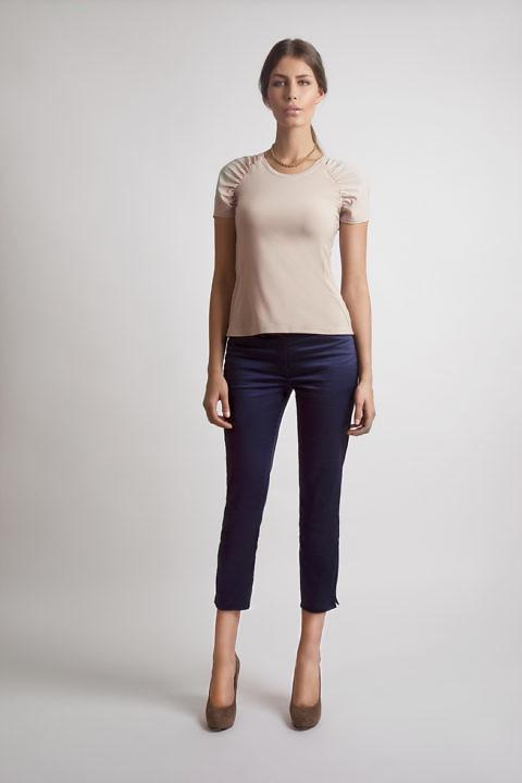 top with draping in beige silk jersey | ASITA SAHABI