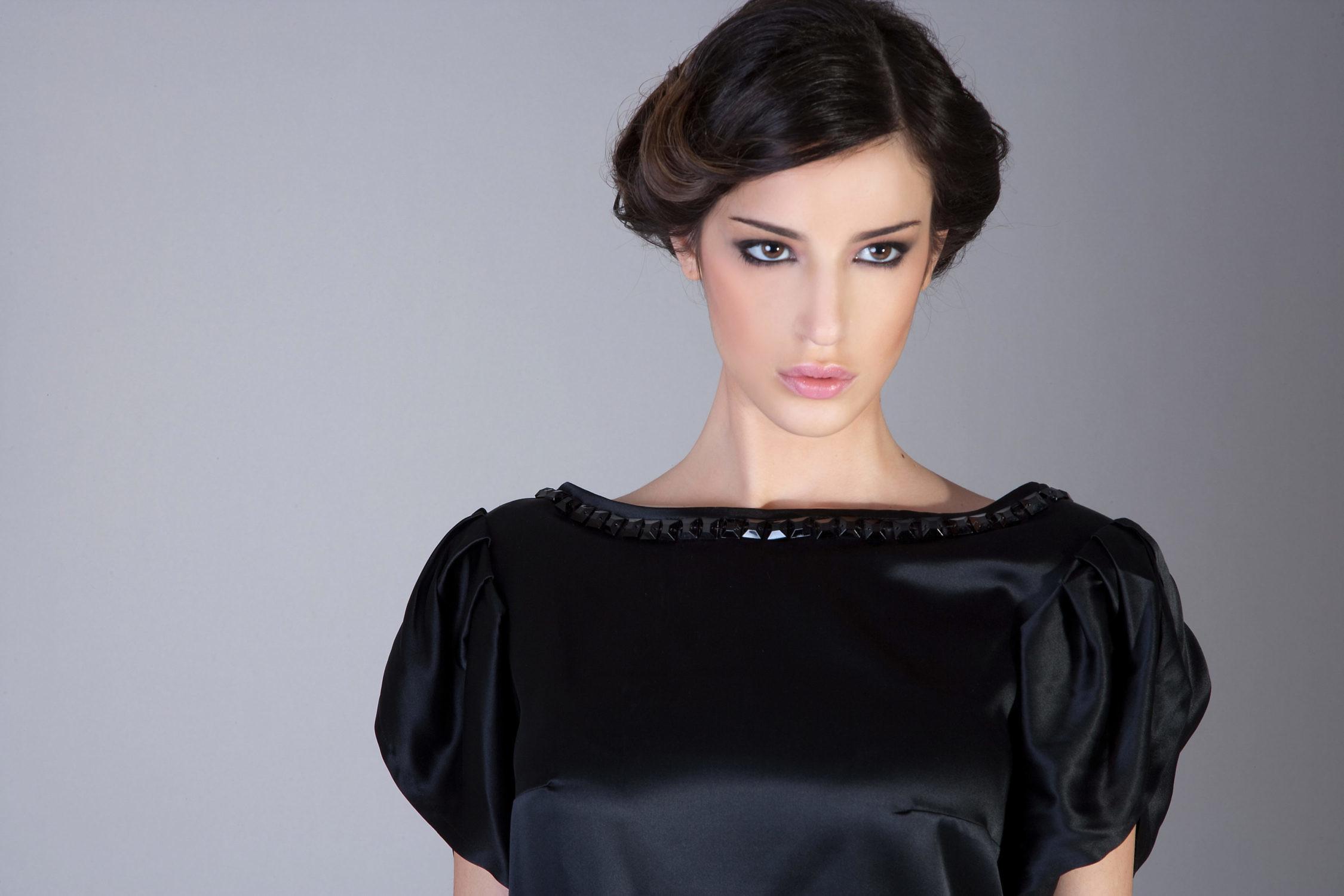 black silk top with rhinestones and cuff sleeves   ASITA SAHABI