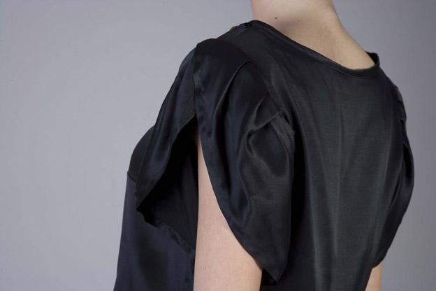 black silk top with rhinestones and cuff sleeves | ASITA SAHABI