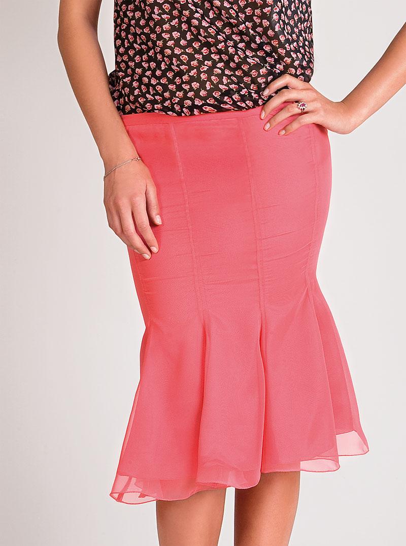 coral silk chiffon skirt | midi length | Asita Sahabi