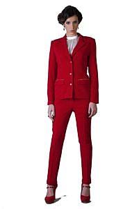 red bouclé pantsuit | business outfits | ASITA SAHABI