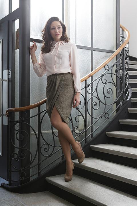 pink blouse with pussy bow | tweed skirt | ASITA SAHABI