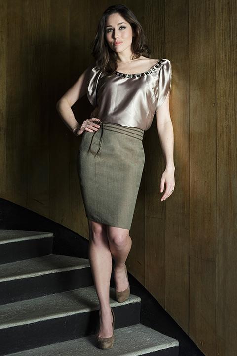 Beige silk blouse with rhinestones | brown wool-blend tweed skirt