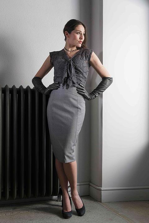 grey woolen lace top | grey pencil skirt | ASITA SAHABI