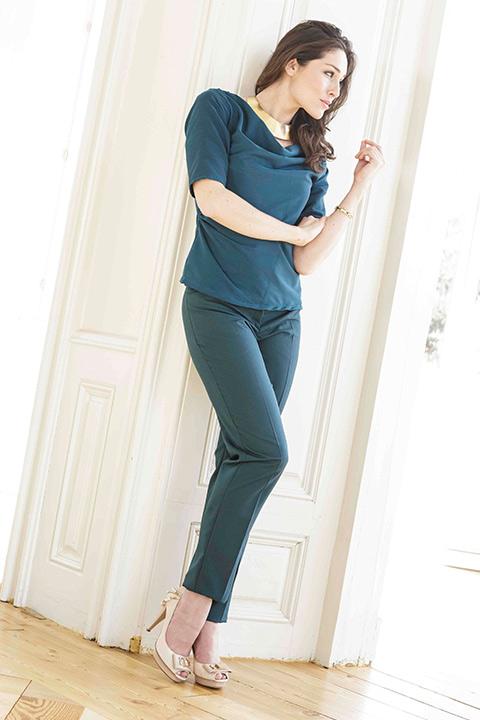 blouse top and cigarette trousers in petrol green | ASITA SAHABI