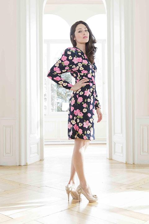 ASITA SAHABI poppy floral printed dress with puff sleeves