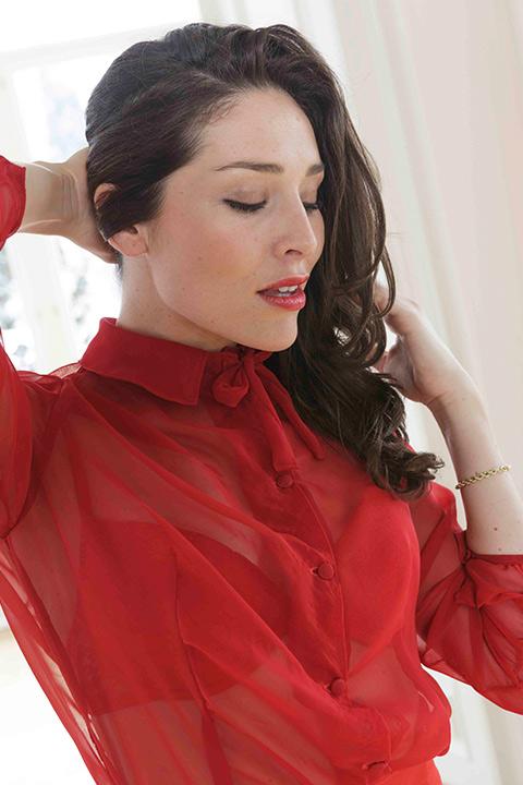 ASITA SAHABI red silk chiffon blouse with pussy bow