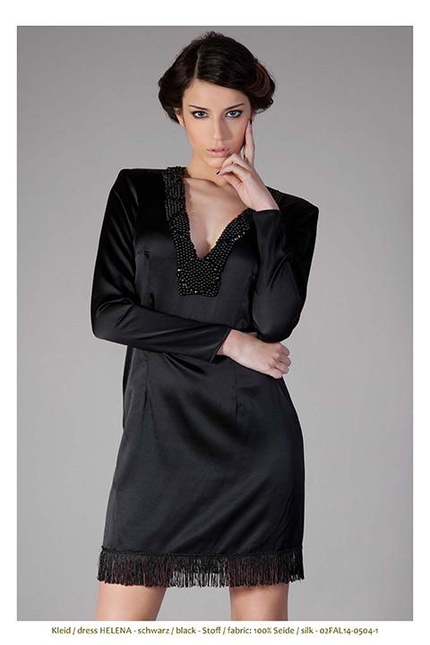 black silk dress with pearls and fringes | ASITA SAHABI