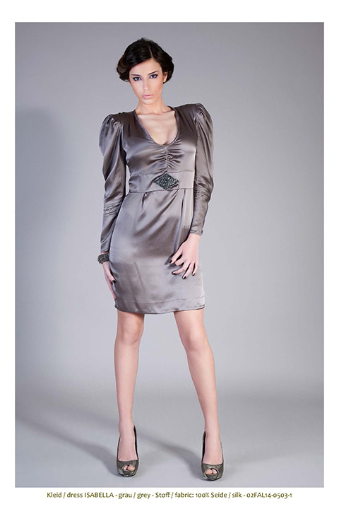 grey silk dress with rhinestones and long puff sleeves