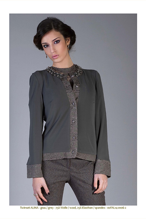 grey cardigan in wool jersey and lace with pearl trim