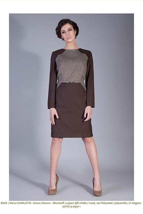 Brown tweed dress | shift dress in brown wool and tweed