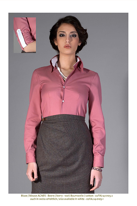 ASITA SAHABI cotton blouse with high collar in berry red