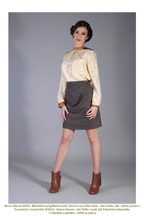 brown tweed skirt with draping and cuff with rhinestones
