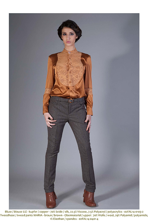 brown tweed trousers with belt and rhinestones cuff