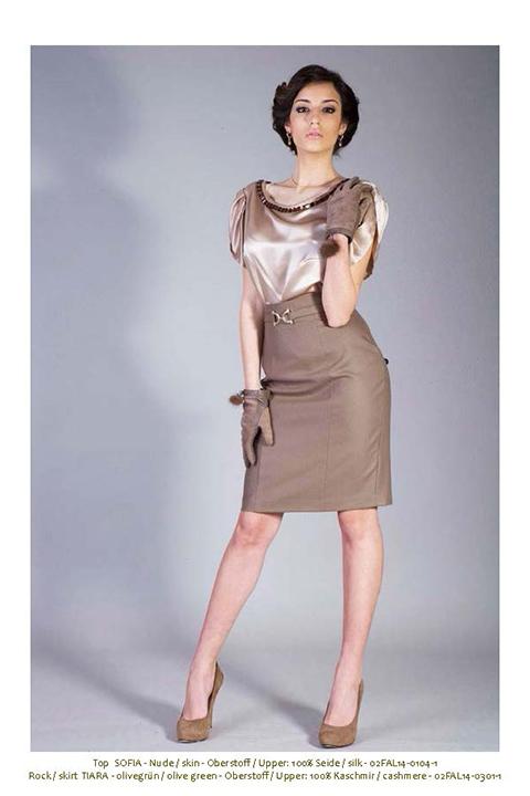 beige silk top | khaki cashmere pencil skirt with cuff