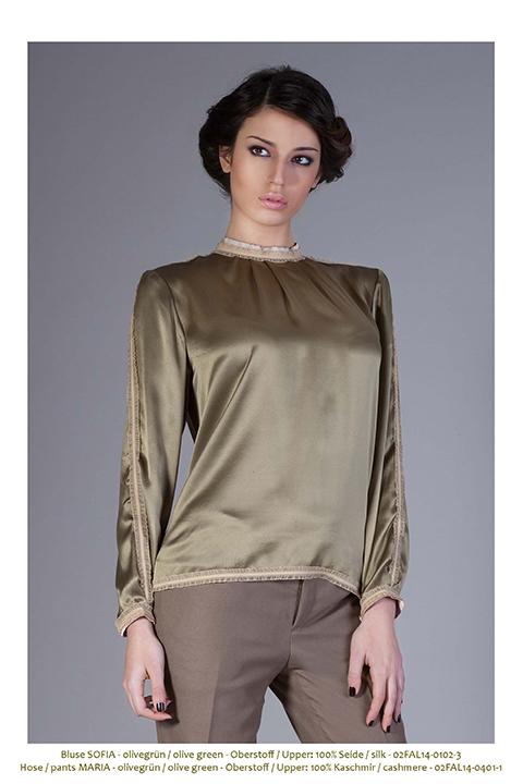 olive green silk blouse with beige ruffles   ASITA SAHABI