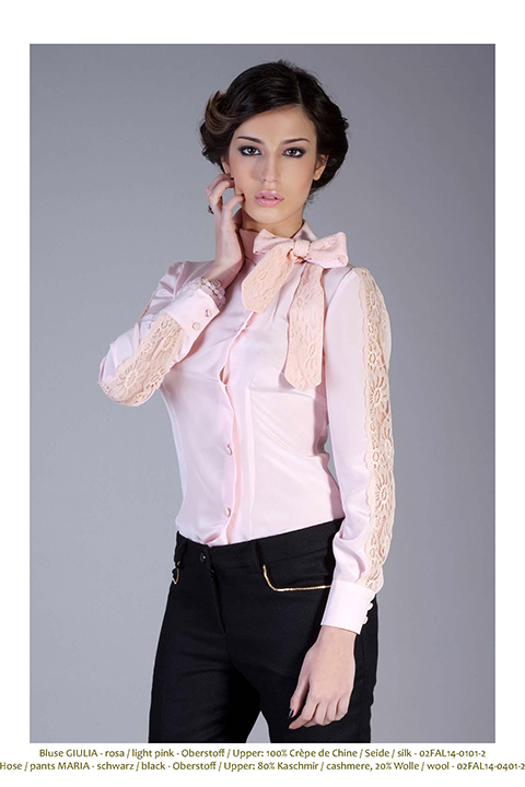 pink silk blouse with lace and pussy bow | ASITA SAHABI