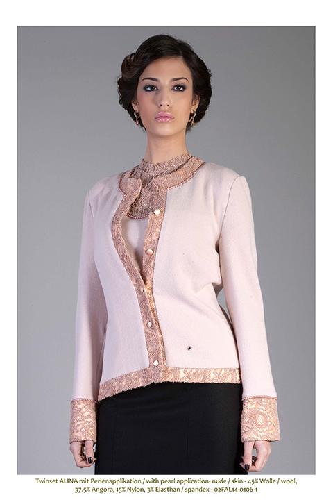 pink twin set with pearl and lace trim | ASITA SAHABI