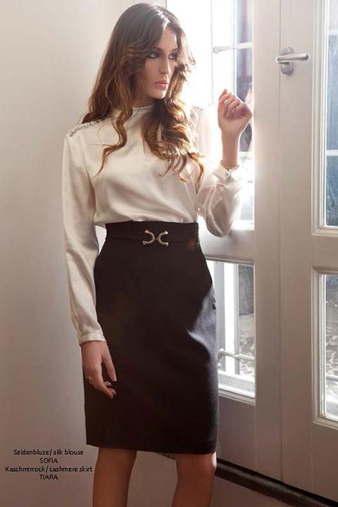 ivory silk blouse | black cashmere pencil skirt | ASITA SAHABI