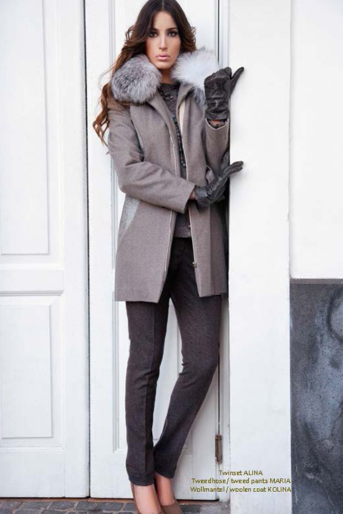 grey winter coat in wool with leather inserts and fox collar
