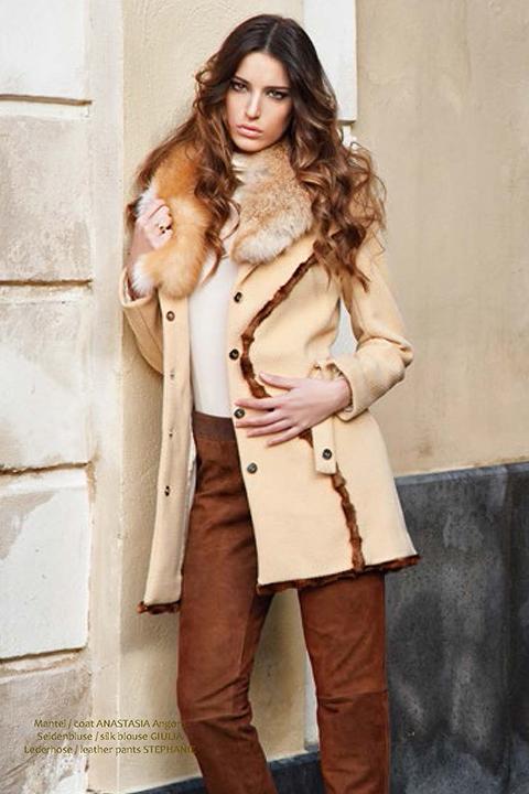 beige angora wool coat with mink trim | ASITA SAHABI