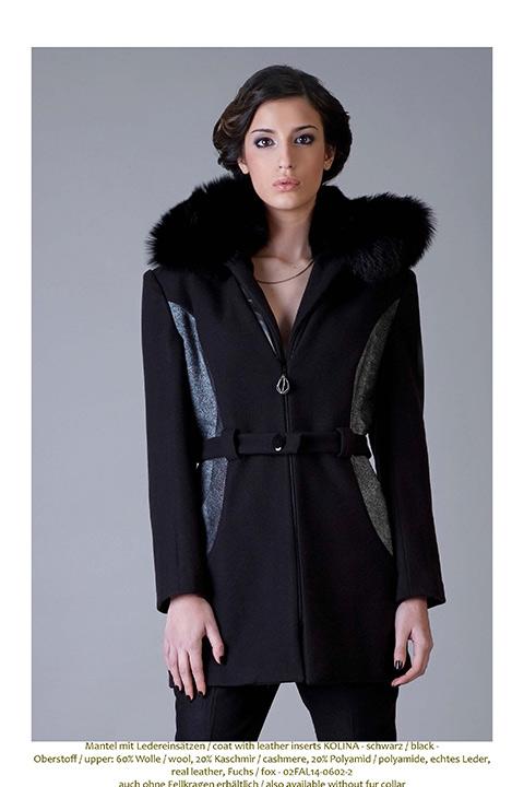 black winter coat in wool, leather and fur   ASITA SAHABI