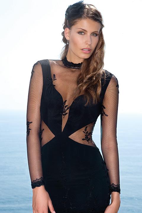 evening dress with cutouts in black lace | ASITA SAHABI