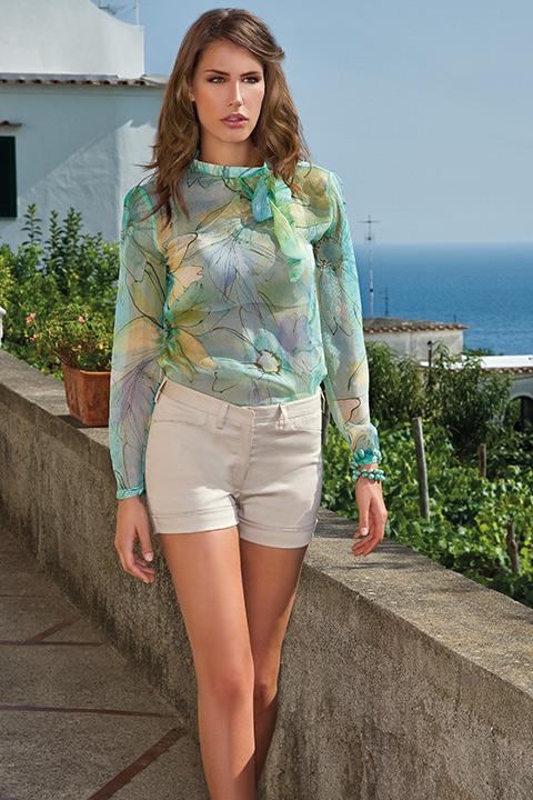 ASITA SAHABI turquoise silk chiffon blouse with a bow