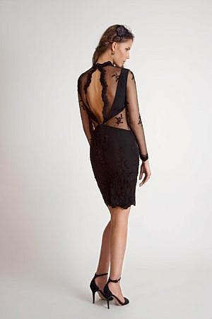 schwarzes Cocktailkleid aus Spitze mit Cutouts ANAHITA – COUTURE ...