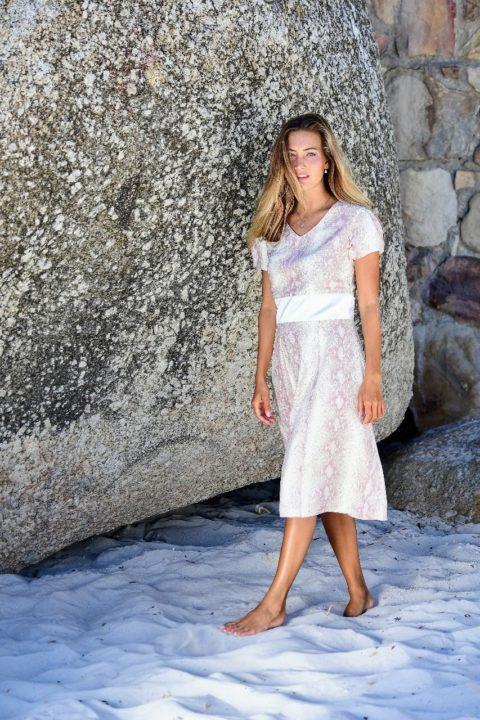 A-Line midi dress in snake printed silk satin | ASITA SAHABI