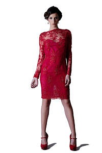 Asita Sahabi Women's Red Macramè Lace Dress