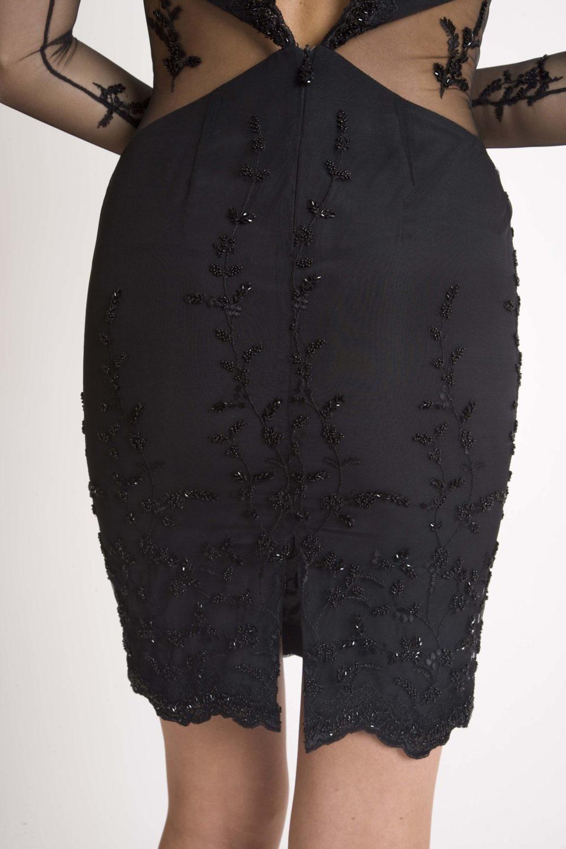 ASITA SAHABI schwarzes Cocktailkleid aus Spitze |