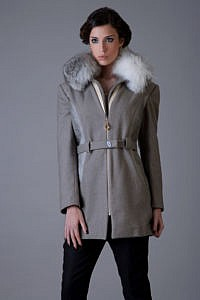 grey winter coat with fur | designer winter coats | Asita Sahabi