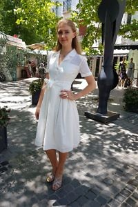 shirtwaist dress in off-white | ASITA SAHABI