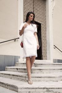 weisses Midikleid mit Spitze | Kleid für Standesamt | ASITA SAHABI