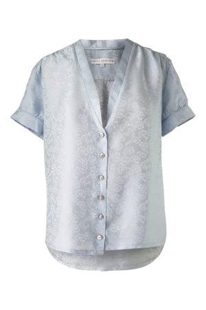 ASITA SAHABI short sleeved blouse in ice blue silk jacquard