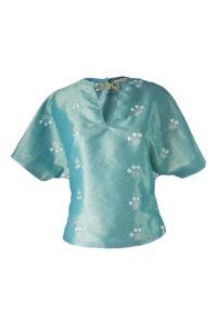 green taffeta blouse with embroideries | ASITA SAHABI