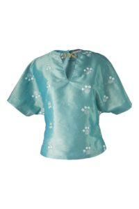 grüne Bluse aus Taft mit Stickereien | ASITA SAHABI
