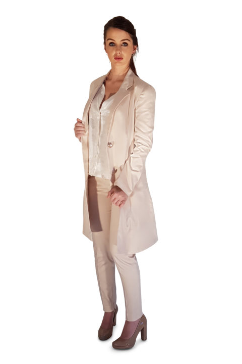 blazer coat and cigarette pants in nude cotton | ASITA SAHABI