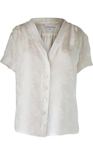 white silk jacquard blouse with short sleeves | Asita Sahabi