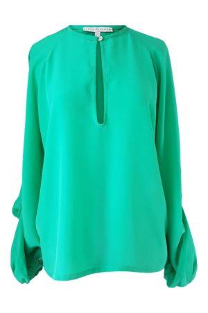 green silk blouse with voluminous sleeves | ASITA SAHABI