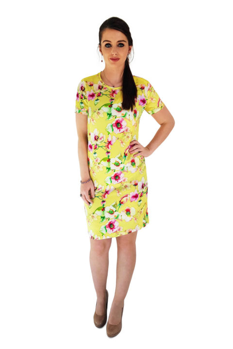 elegant yellow silk dress with flower print | ASITA SAHABI