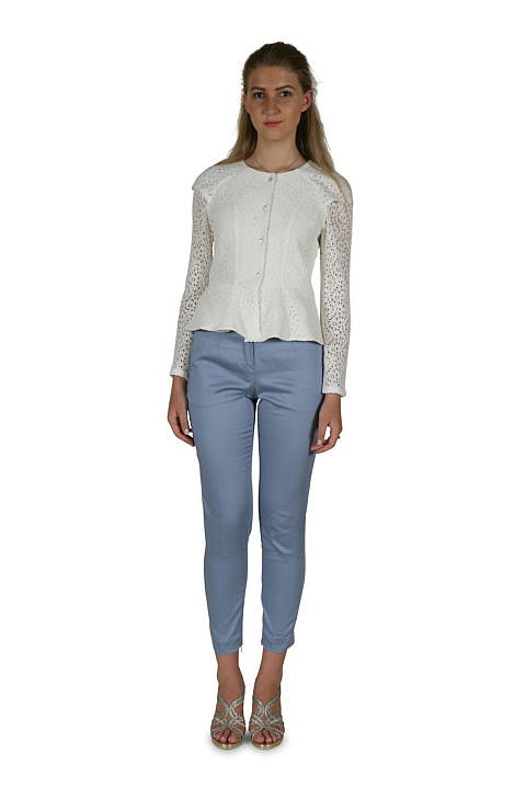 Women's Lace Top in off-white | cotton trousers in dove blue