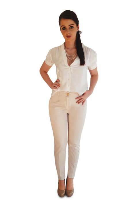 white silk blouse and cream slim fit pants | ASITA SAHABI