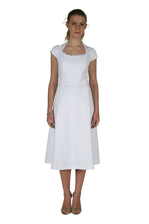 ASITA SAHABI white midi dress in cotton jacquard and A-Line