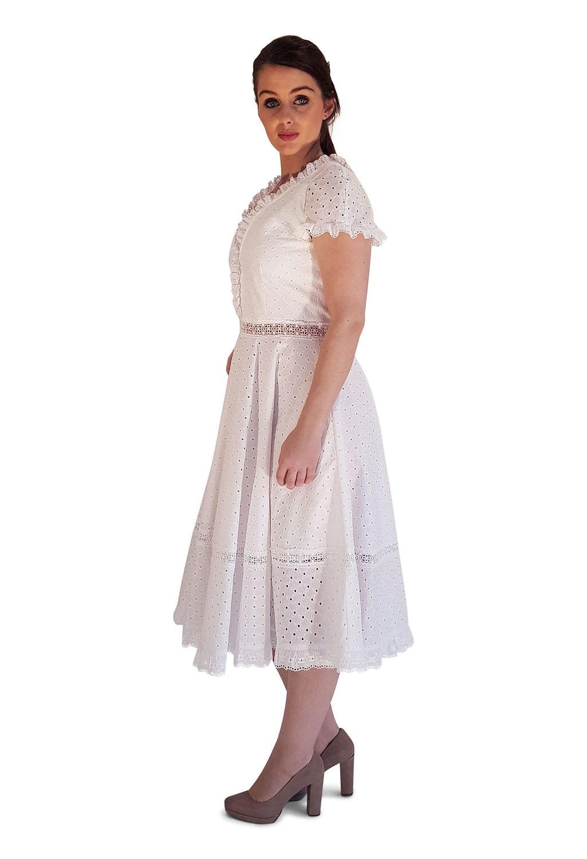 Rockabilly-Hochzeitskleid  weisses knielanges Kleid  ASITA